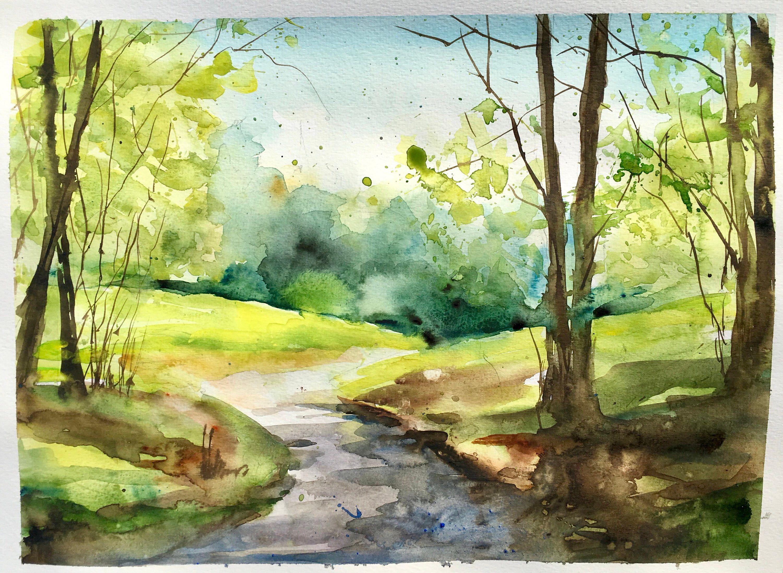 Aquarelle Peinture Originale Chemin A La Sortie Du Bois