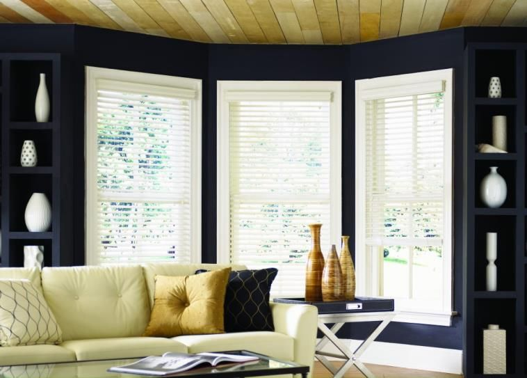 Bright Blinds Against Dark Walls With Images Window Treatments