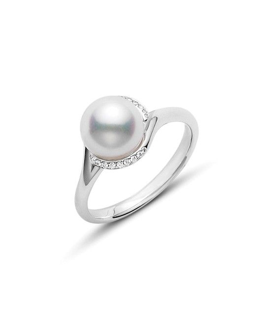 Mikimoto Twist Akoya Cultured Pearl Ring - White Gold | Anderson Bros.