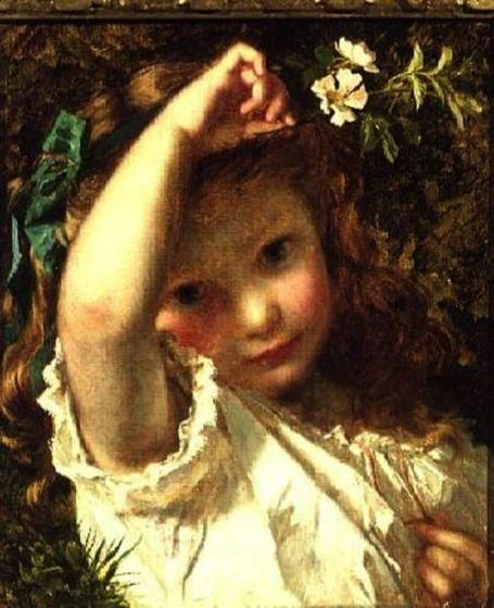 Peek-A-Boo, Oil by Sophie Gengembre Anderson (1823-1903, France)