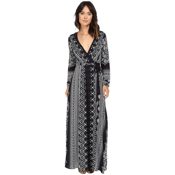 The Jetset Diaries Las Estrellas Printllas Maxi Dress (Estrellas... ($229) ❤ liked on Polyvore featuring dresses, v neck wrap dress, long-sleeve maxi dress, wrap maxi dress, long sleeve dress and long sleeve v neck dress