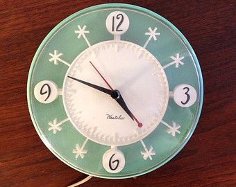 Vintage Snowflake Electric Kitchen Wall Clock By Westclox 1950s Turquoise Aqua Vintage Clock Mid Century Modern Wall Clock