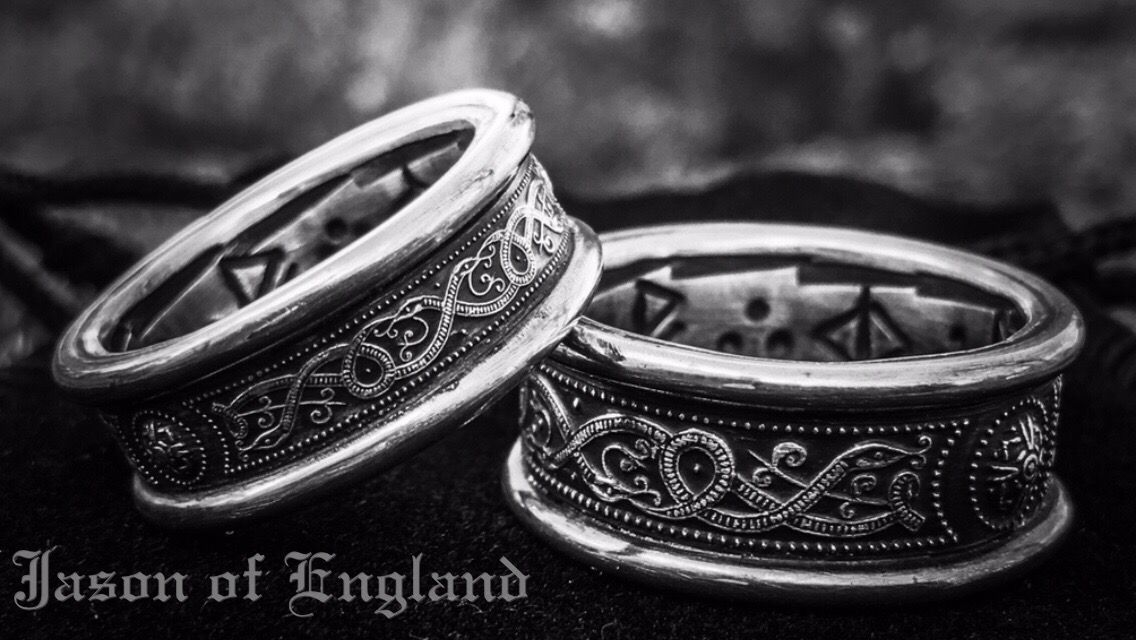 Silver Serpent Wedding Handfasting Rings With Personalised Runic Inscription Www Jasonofengland Co Uk Celtic Wedding Rings Wedding Rings Viking Wedding Ring