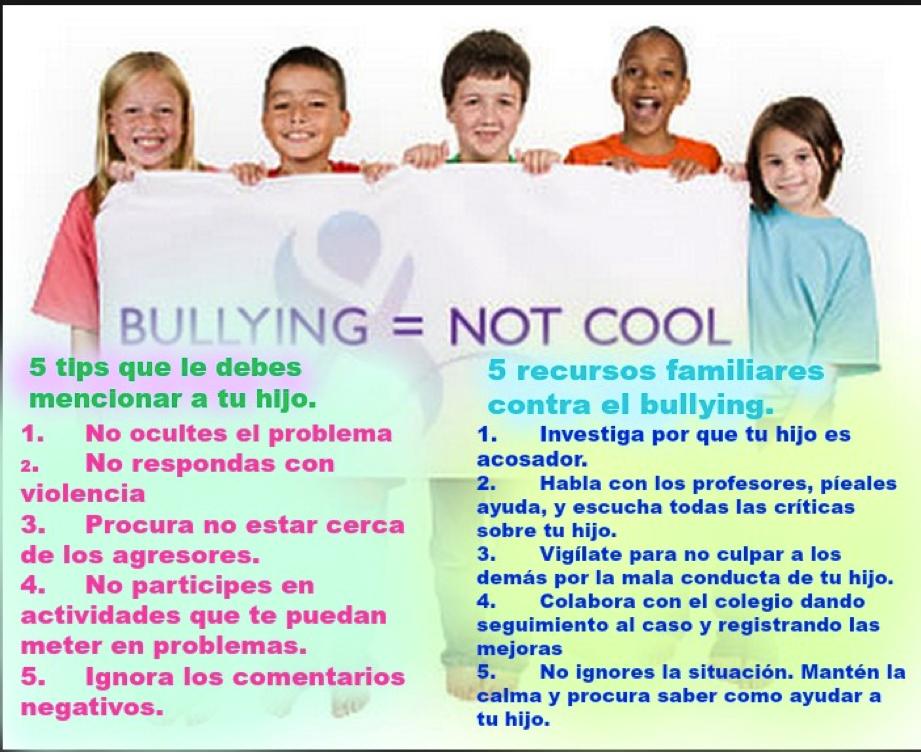 Distintos tips Medina, V. (2013). Guía infantil. Recuperado el 04 de Mayo de 2015, de Papel de los padres frente al acoso escolar: http://www.guiainfantil.com/educacion/escuela/acosoescolar/papelpadres.htm Méndez, I. (2006). Psicopedagogía. Recuperado el 04 de Mayo de 2015, de Como detectar el bullying: http://www.psicopedagogia.com/sufre-bullying