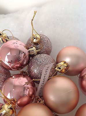 24 Rose Gold Shiny Matt Glitter Christmas Baubles Decorations Tree 40Mm 3 O GBP499