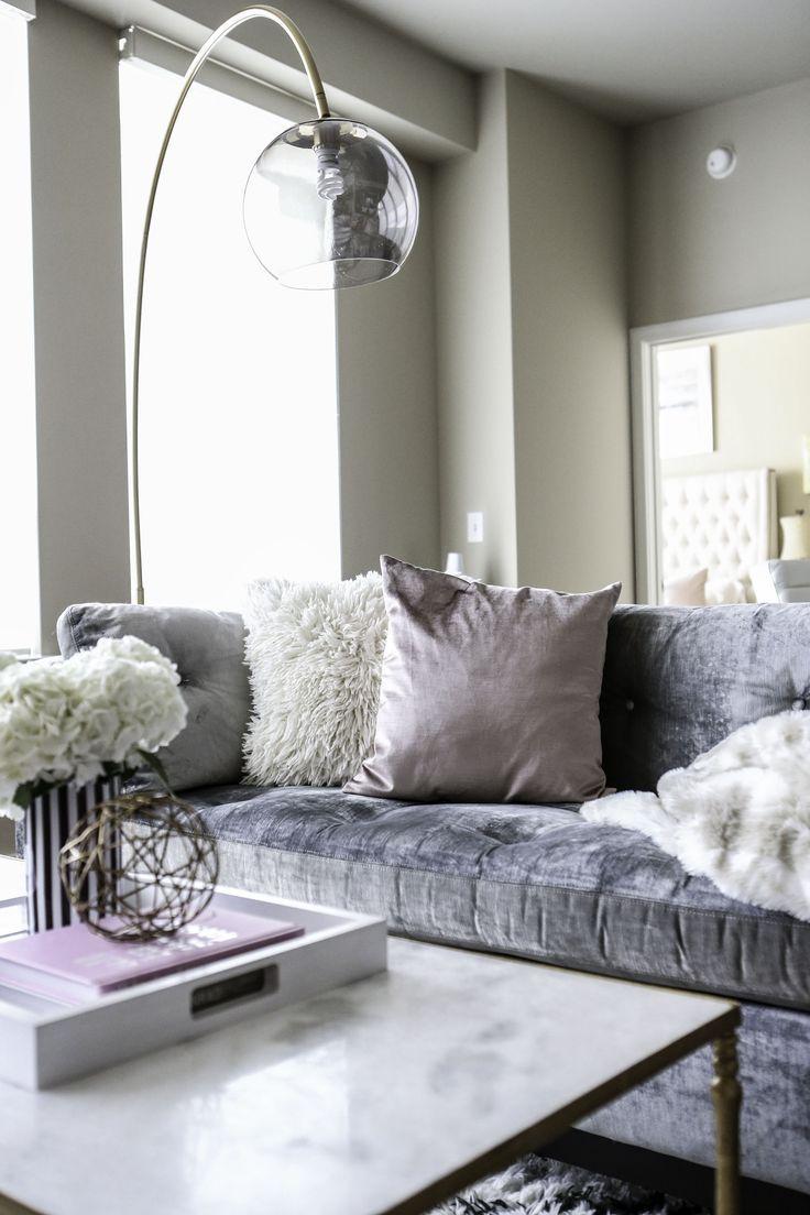 Modern Apartment Pink And Grey Decor Velvet Sofa Living Room Living Decor Lamps Living Room