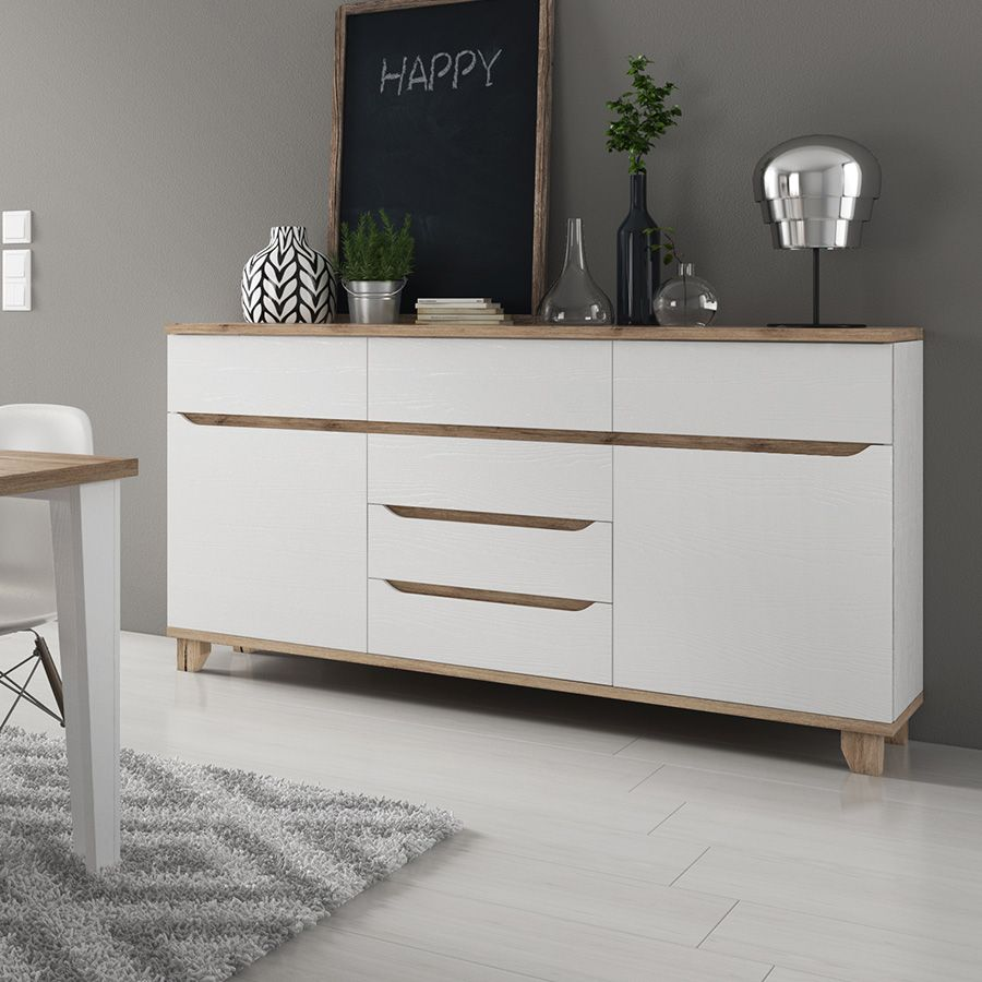 Buffet Salon Bois Buffet Scandinave Couleur Blanc Et Bois Brita Bedroom Renovation