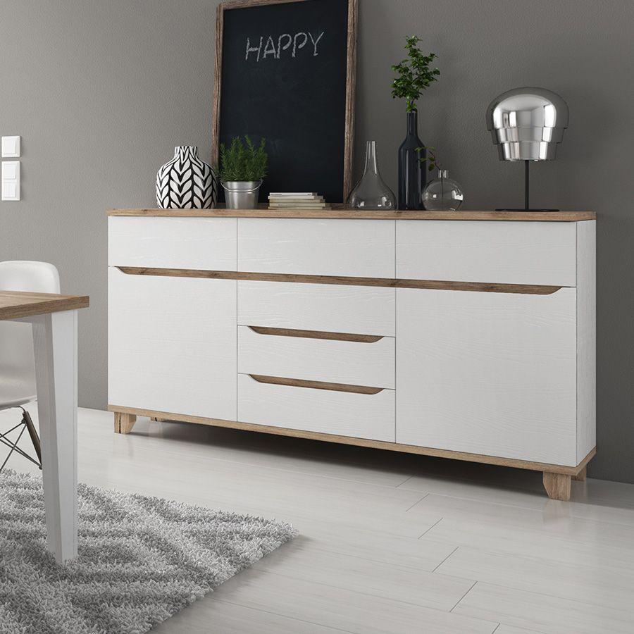 buffet scandinave couleur blanc et bois brita duco. Black Bedroom Furniture Sets. Home Design Ideas
