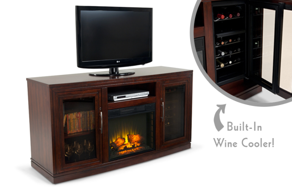 ummm... electric fireplace, tv stand, AND wine cooler