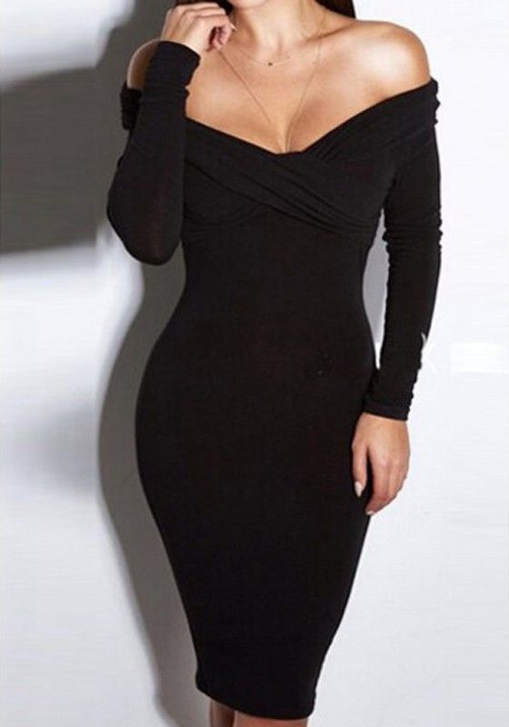 Black Plain Irregular Boat Neck Long Sleeve Midi Dress Pretty