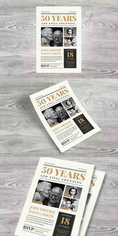 Newspaper Wedding Anniversary Invitation Template Ai Psd Cmyk 300