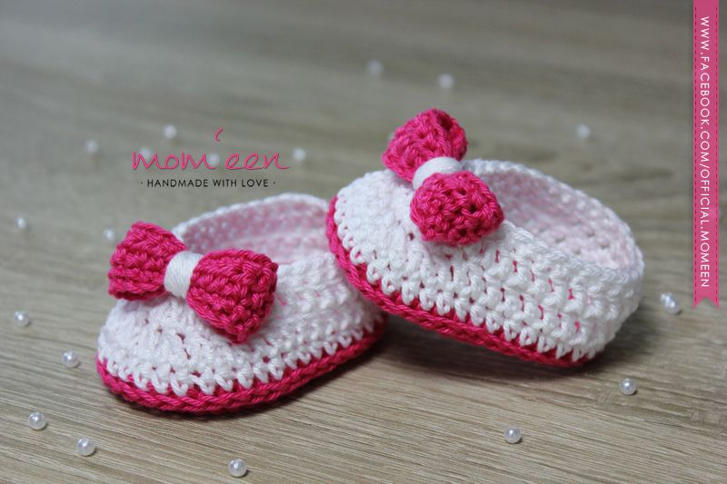 Baby shoes / baby moccasins Lina with a bow in pink white 0-3 months ...