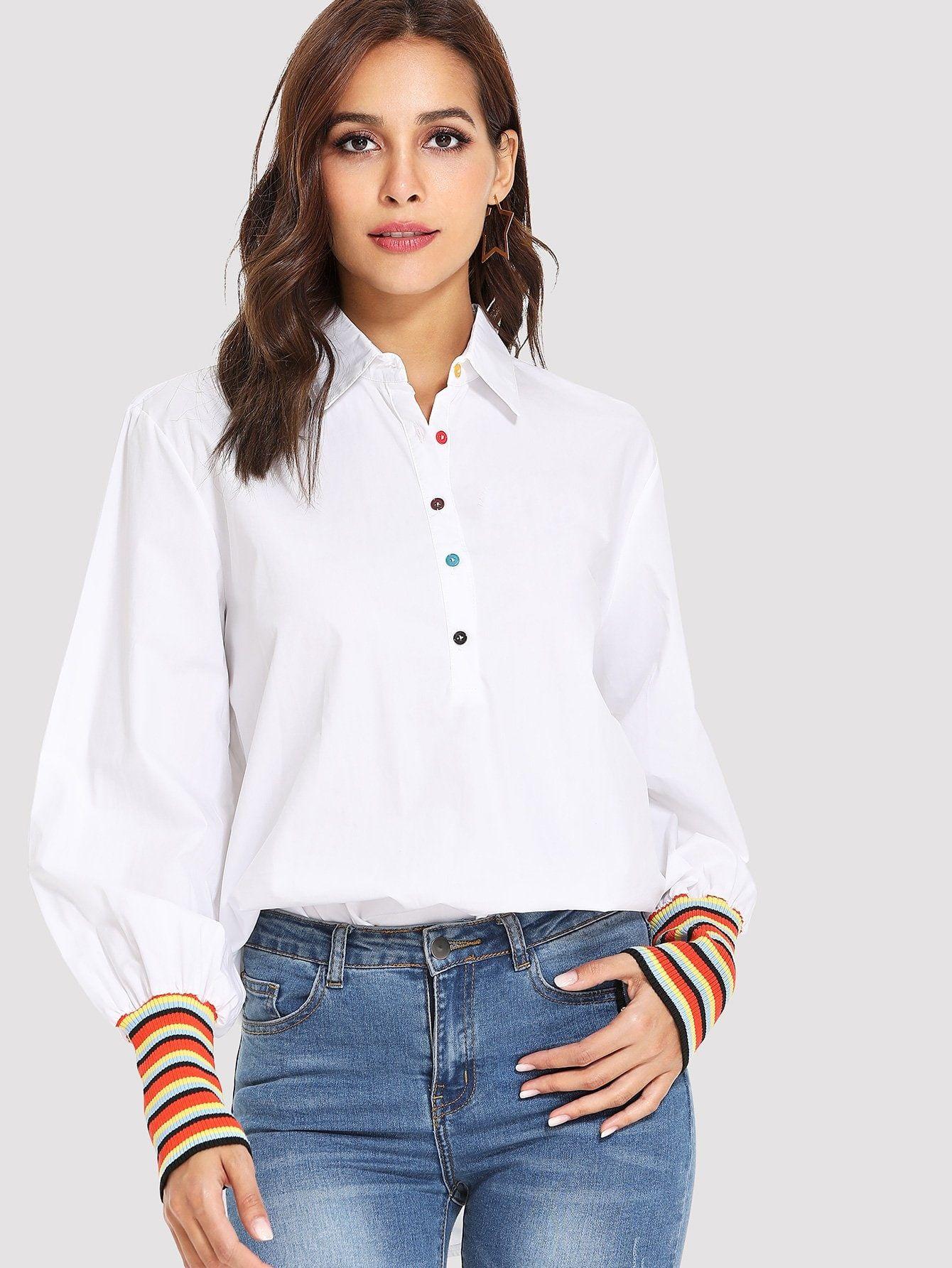 6e3a37c2d91e99 Casual Shirt Regular Fit Collar Long Sleeve Leg-of-mutton Sleeve Half  Placket Beige Regular Length Stripe Contrast Sleeve Longline Shirt