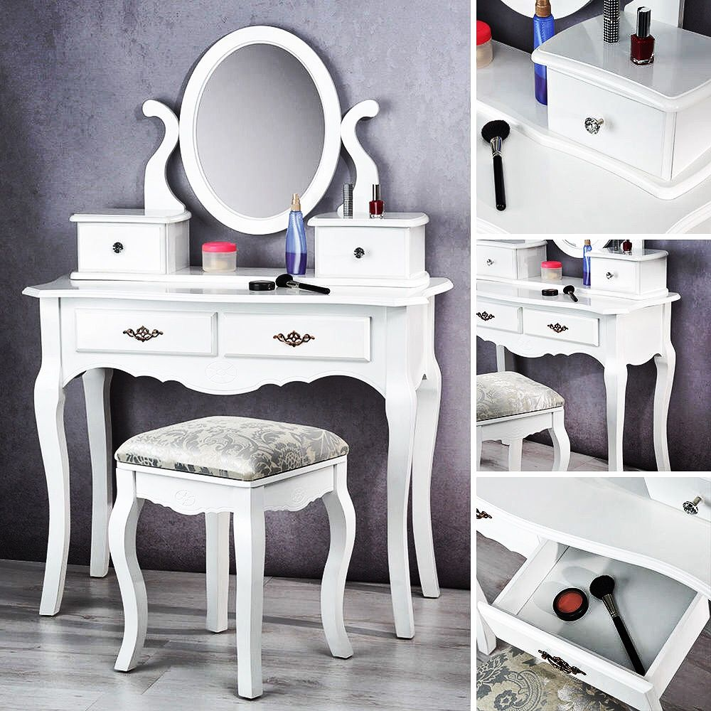 SEA15 eMobili Dressing table with stool, White leather