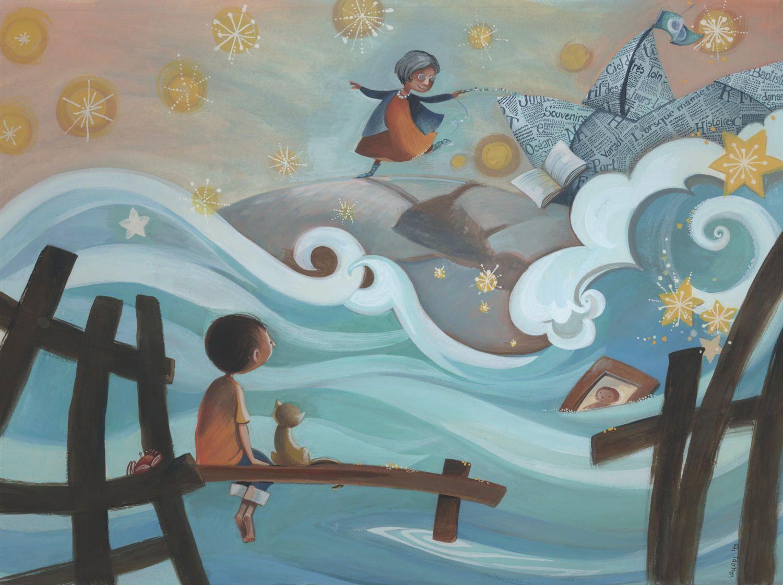 arte para nios decoracin ilustracin habitacin nios barco de papel olas nios gato mar estrellas muelle marco