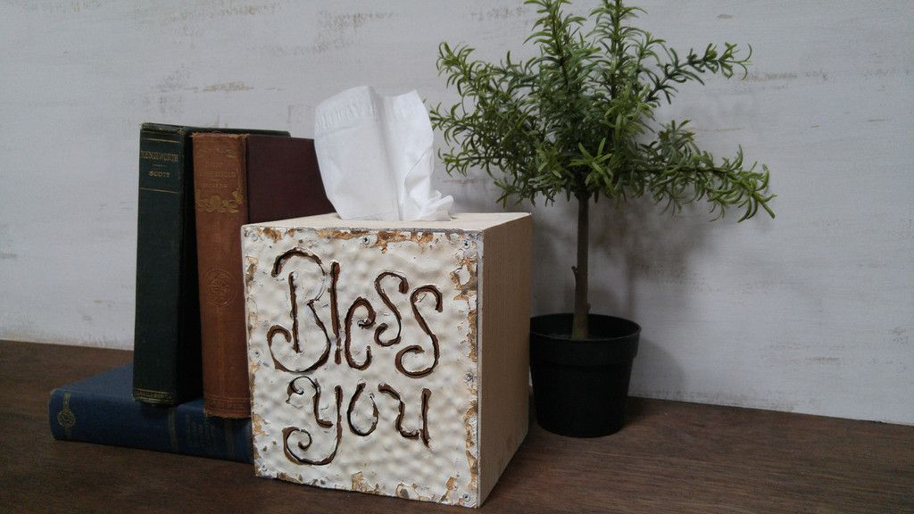 """Wood and Tin """"Bless You"""" Tissue Box – Trinity Vintage Home"""
