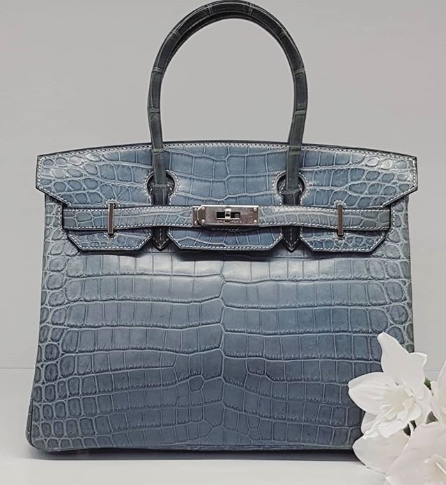 37000 wire. Preloved Blue Jean Matte Niloticus Birkin 30