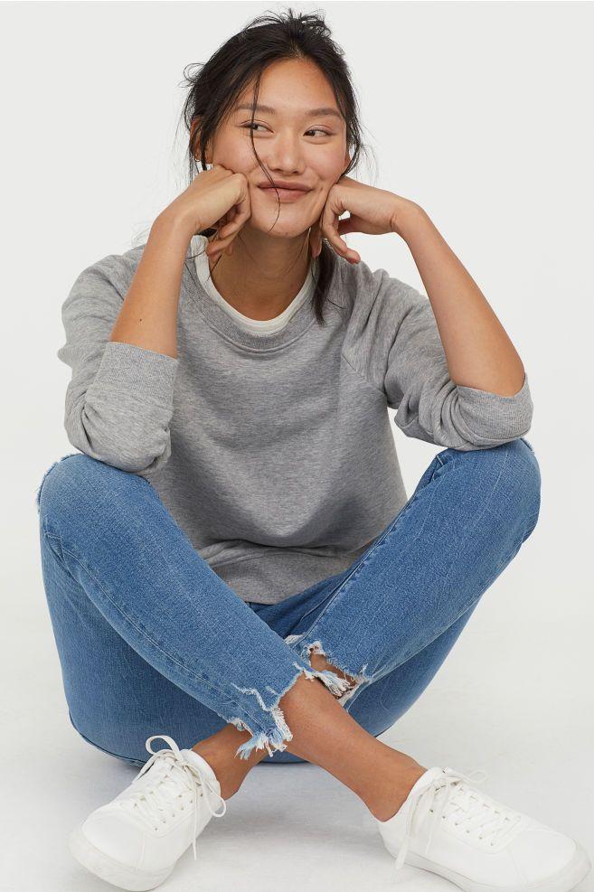 cb925363ce654 Skinny High Ankle Jeans - Denim blue/trashed - Ladies | H&M US 2