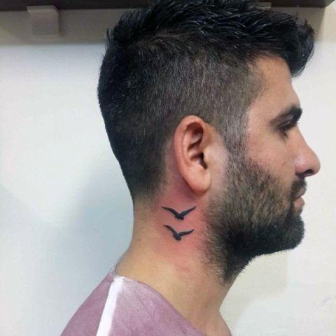 Two Birds Tattoo Idea Tattoos For Guys Small Tattoos Small Neck Tattoos