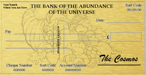 Cosmic cheque, Cosmic Ordering, cornucopia forms part of the