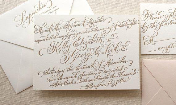 The Gerbera Suite - Letterpress Calligraphy Wedding Invitations