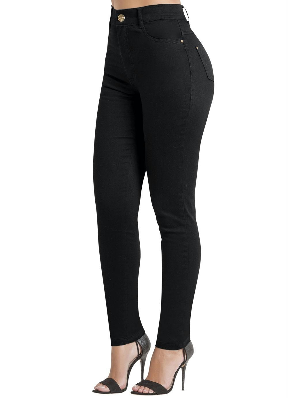 dae76a071 Calça Sarja Sawary Preta Modelo Hot Pants