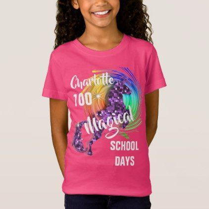 100 Days Of School Magical Unicorn Personalized T-Shirt | Zazzle.com