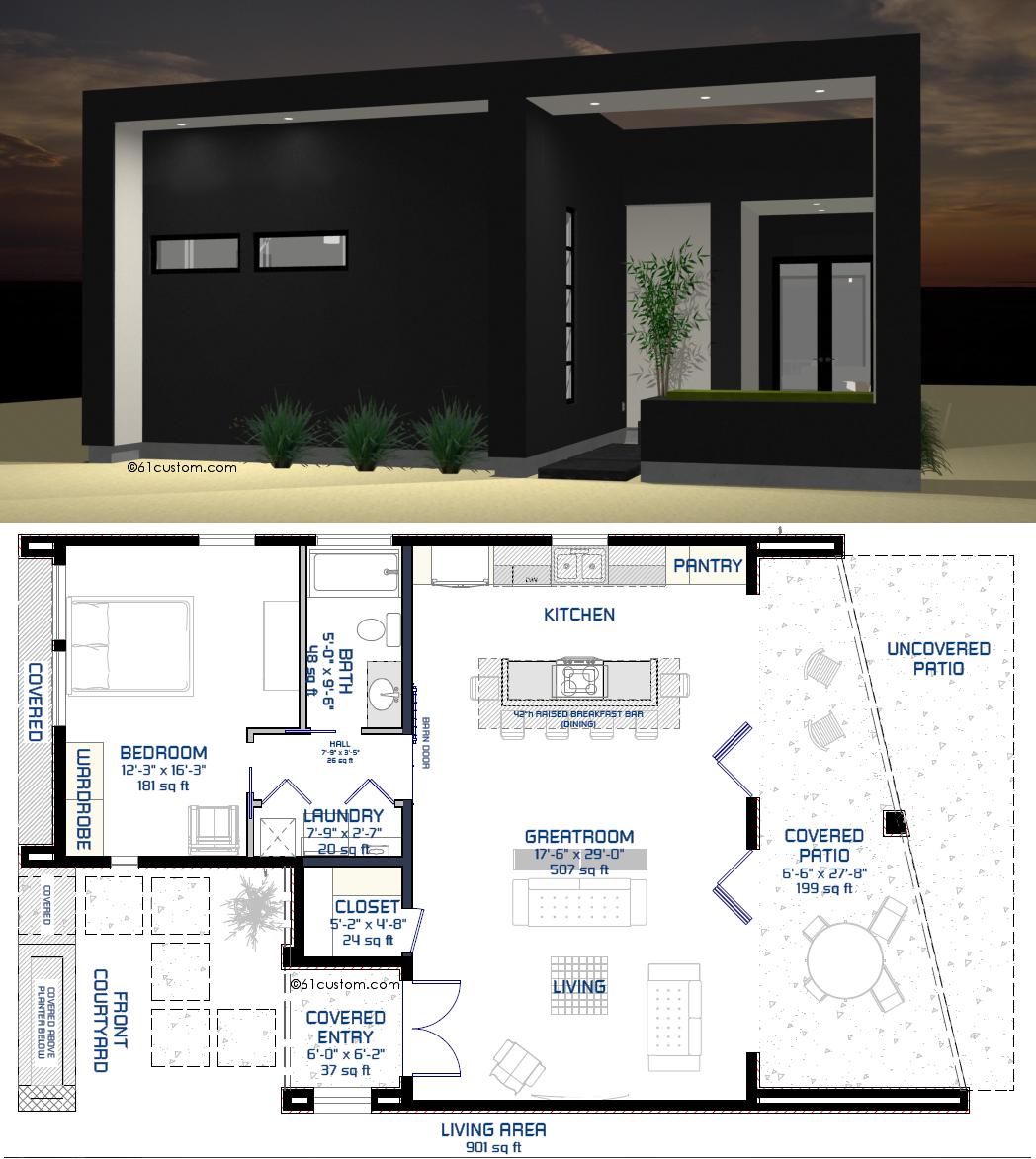 Small Modern Courtyard House Plan 61custom 901sqft 1 Bed