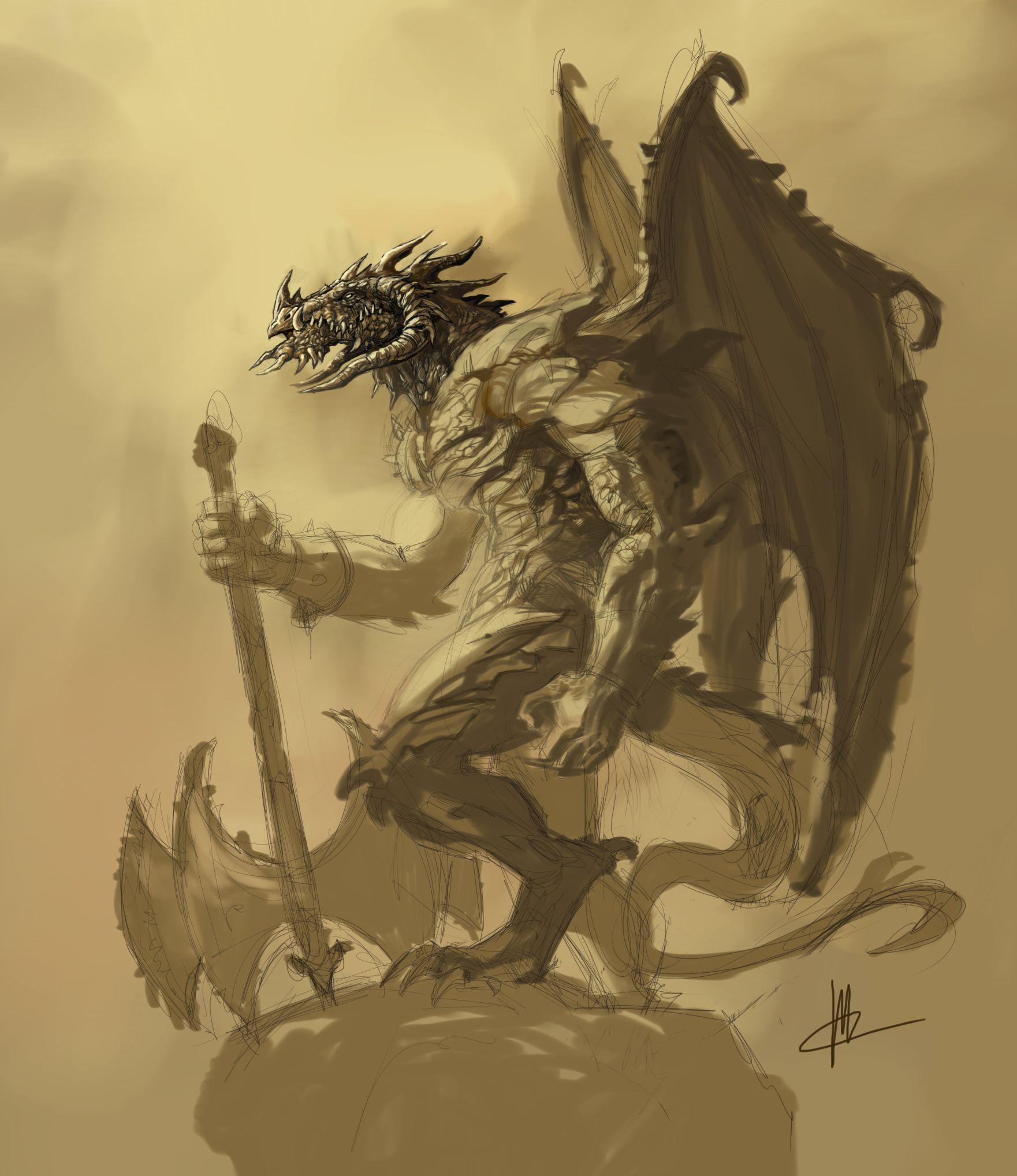 Green dragon humanoid