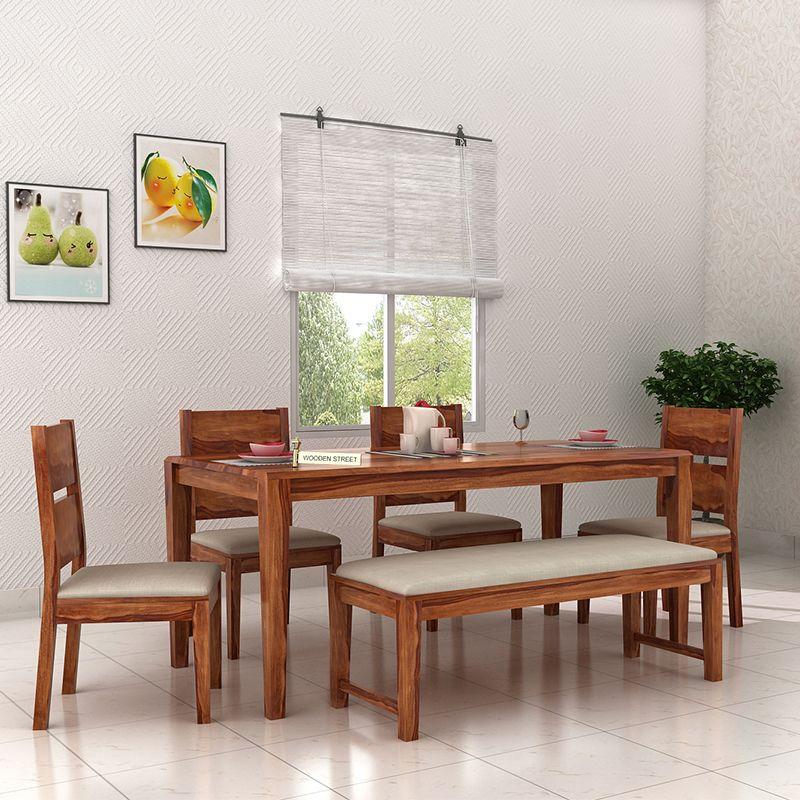 Buy Kietel 6 Seater Dining Set With Bench Teak Finish Online In India Dining Set With Bench Pooja Room Design Dining Set