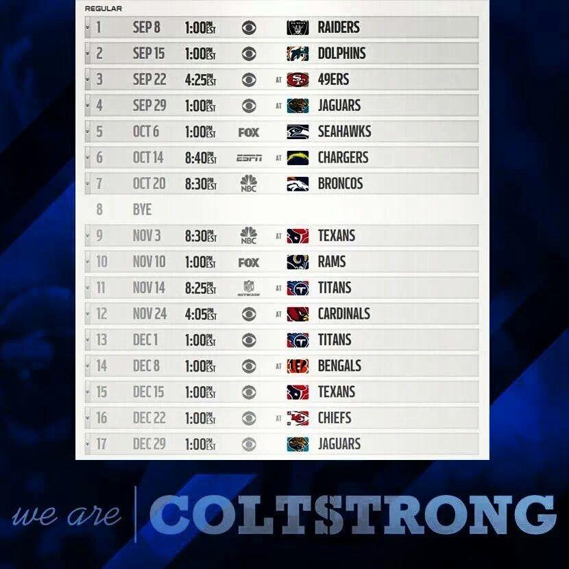 Colts schedule!