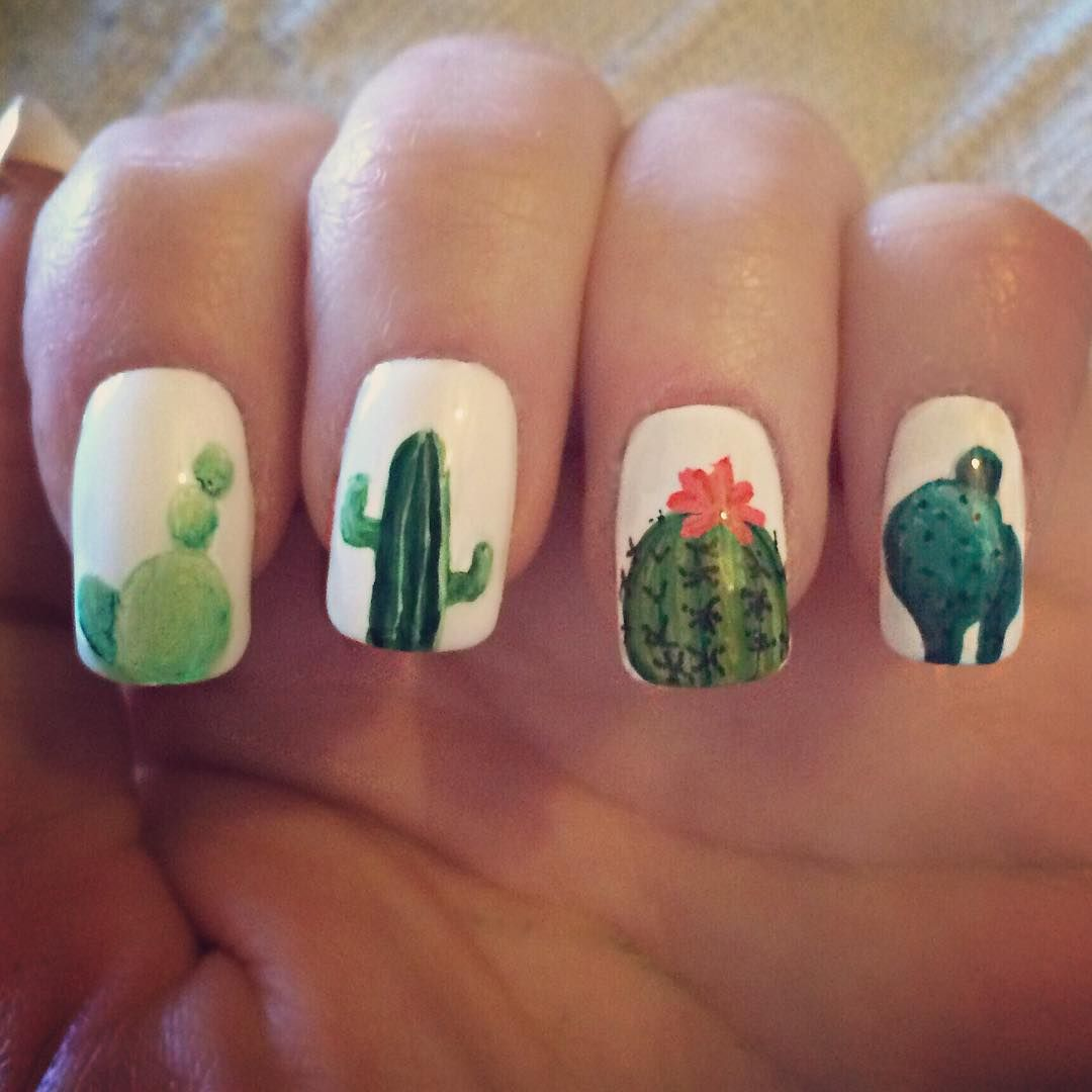 Love These Cactus Nails Bright Nail Art Shamrock Nails Cute Nails