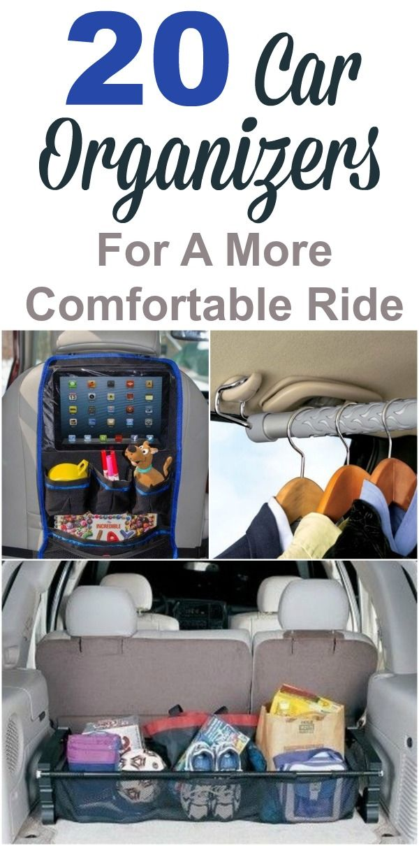 20 car organizer products that can help you get more organized and keep everyone entertained during car rides. Includes ideas for the backseat, side pockets, glove compartment, trunk and more. #ad