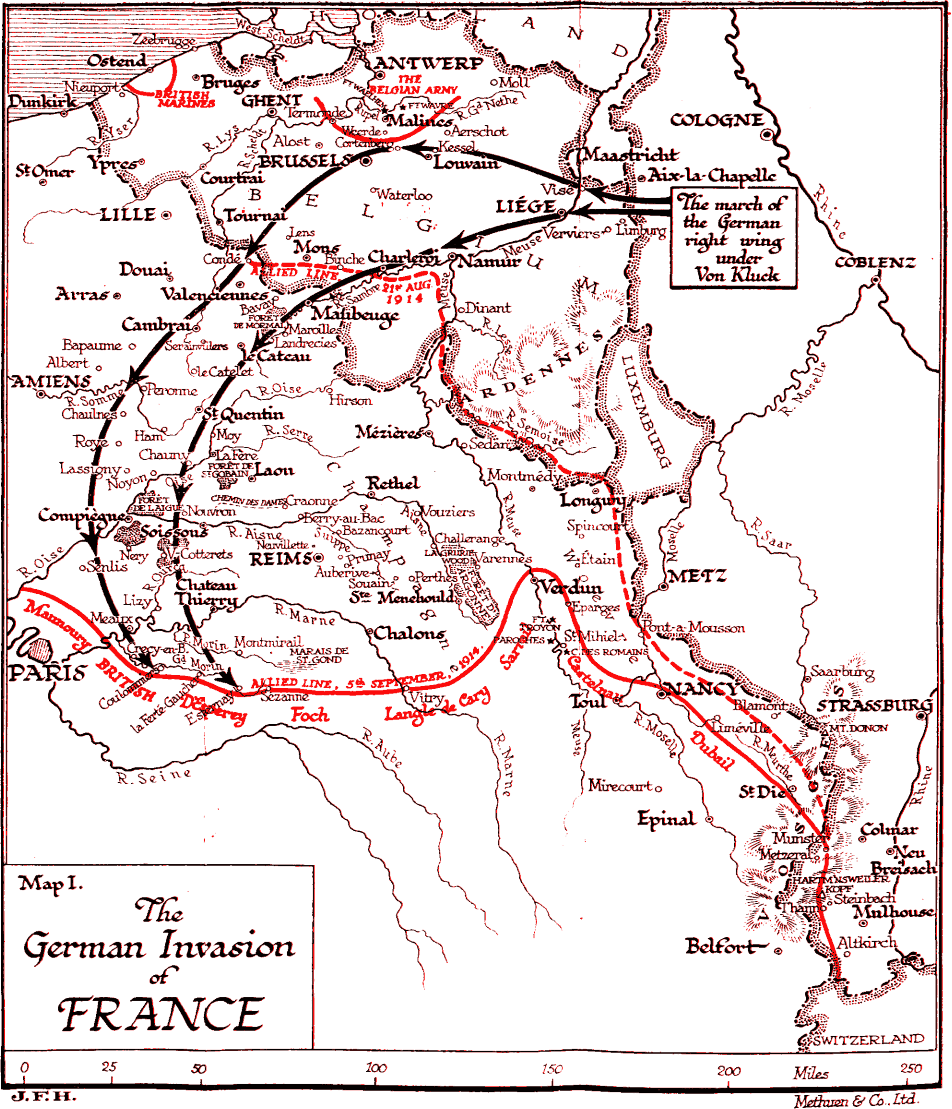 Map Of France Ww1.German Invasion Of France August 1914 Wwi Maps Of France World
