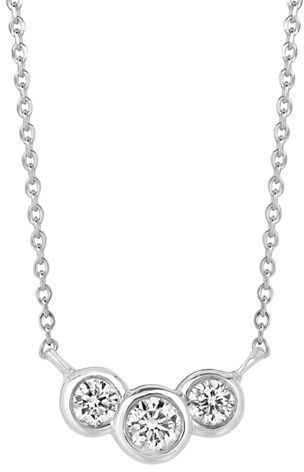 09ad0b7491528 Lord & Taylor 14Kt White Gold Three Stone Diamond Necklace on ...