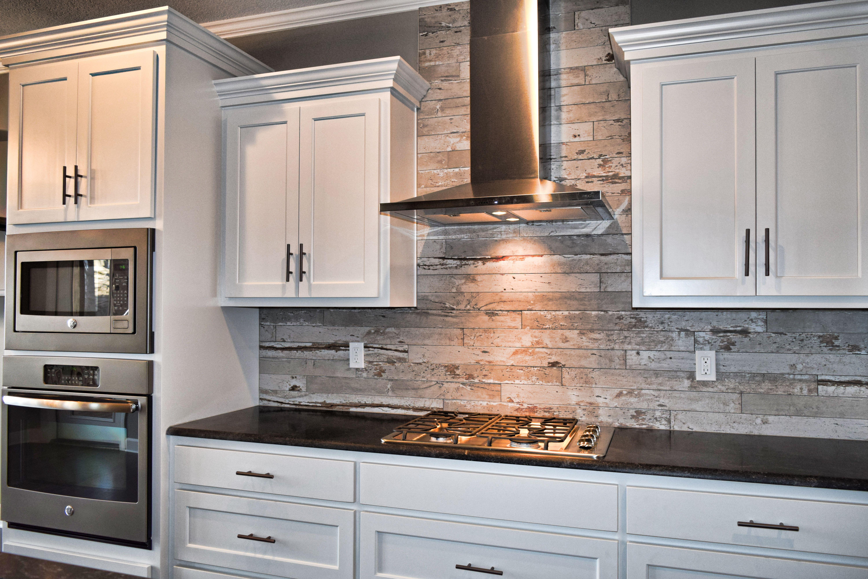 White Cabinets Wood Look Tile Kitchen Backsplash Flat Panel
