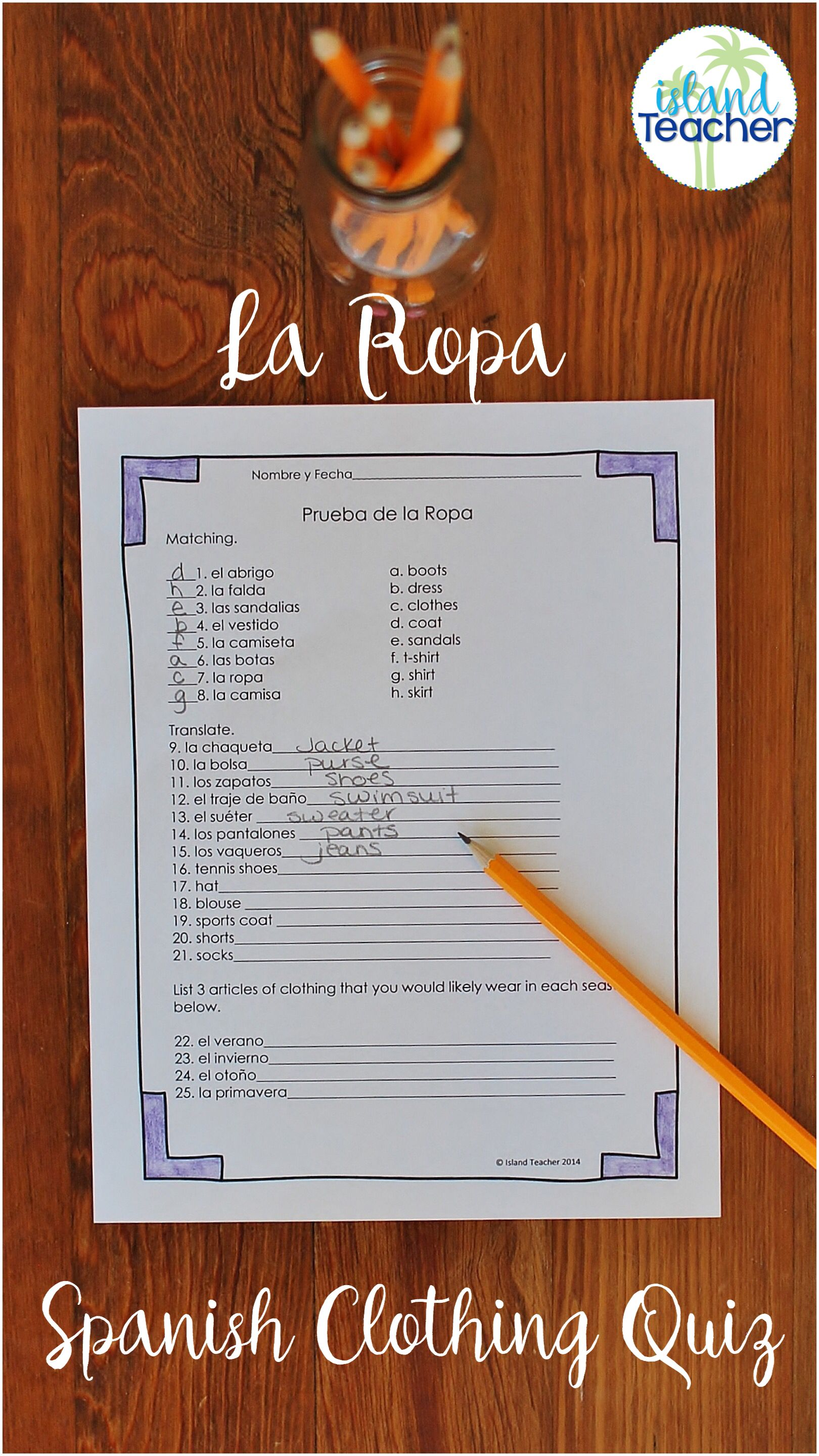 La Ropa Spanish Clothing Quiz