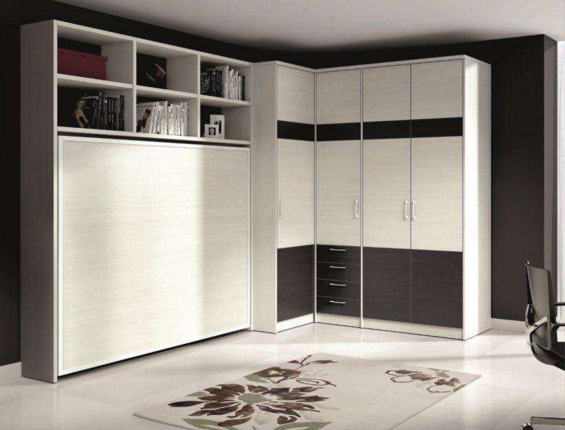 armoire lit escamotable athena avec dressing et rangements couchage 140 190cm armoire lit. Black Bedroom Furniture Sets. Home Design Ideas