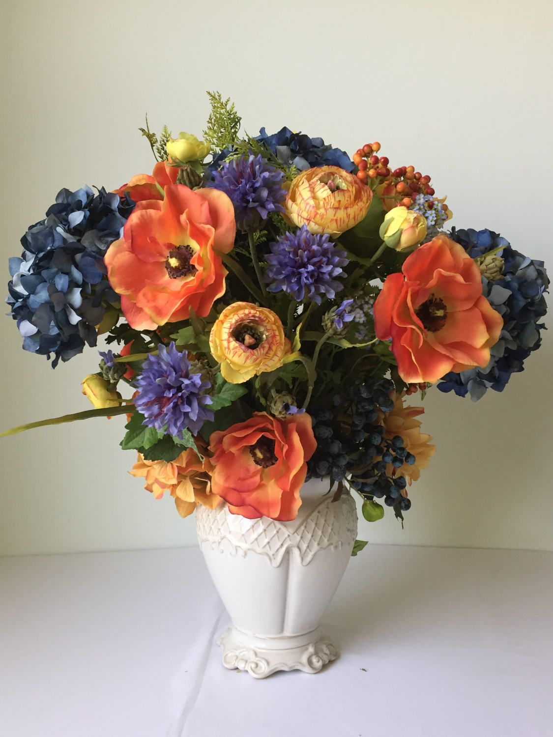 Orange And Blue Silk Flower Arrangement Summer Floral Centerpiece