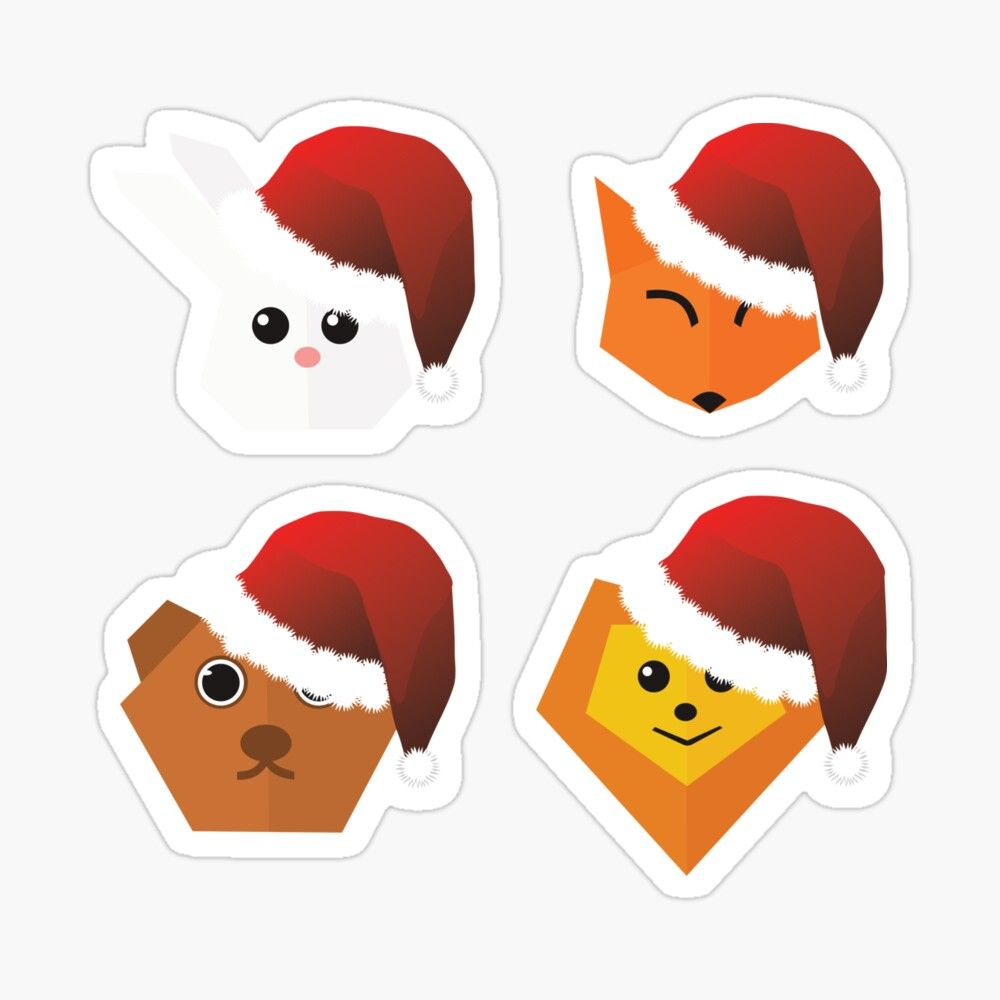 Photo of Origami Animals With Santa Hats Christmas Sticker Pack Sticker