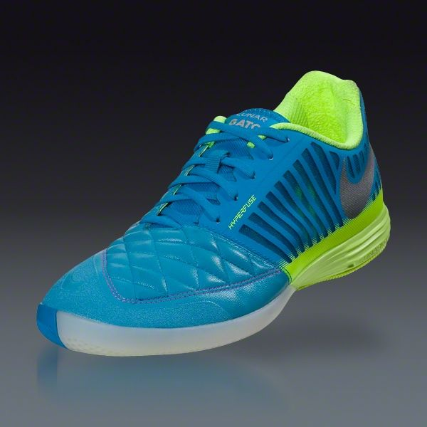 quality design a4db3 5238e Nike Lunar Gato II - Current Blue Metallic Silver Lime Indoor Soccer Shoes     SOCCER.COM