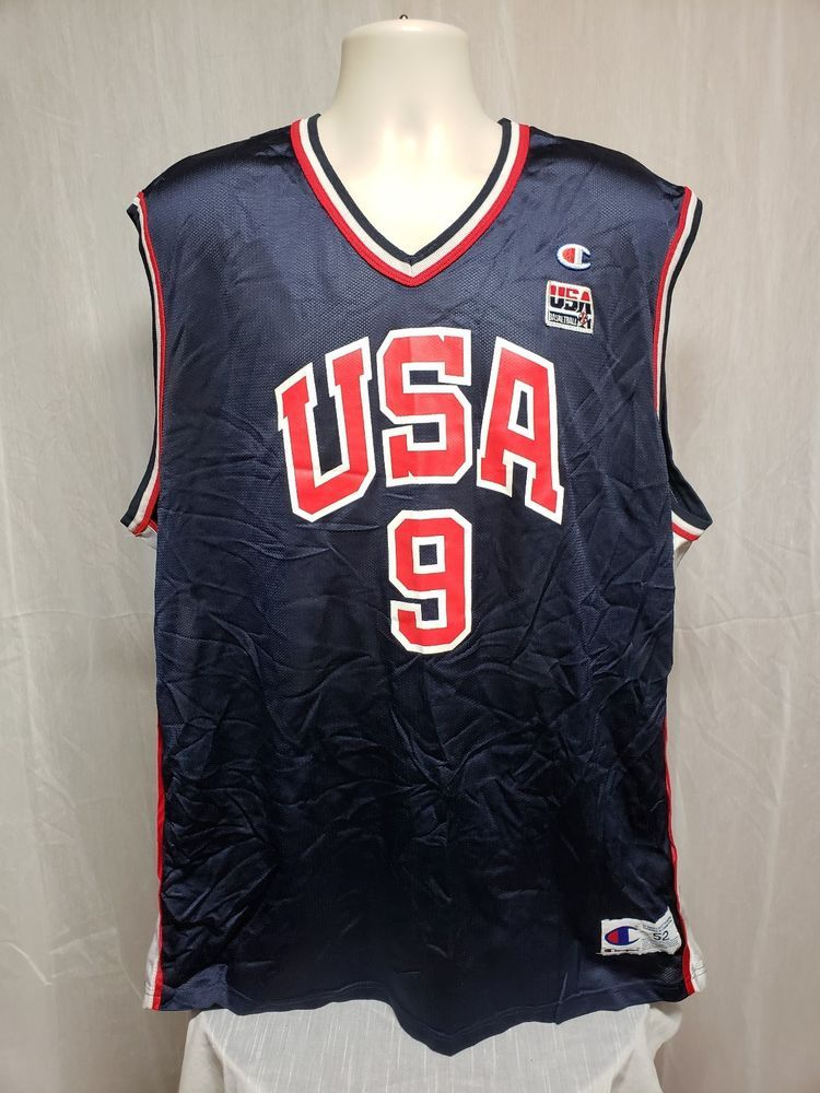 a89fd365b1f Champion USA Olympics Basketball Vince Carter  9 Mens 2XL Sz 52 Blue Team  Jersey  Champion