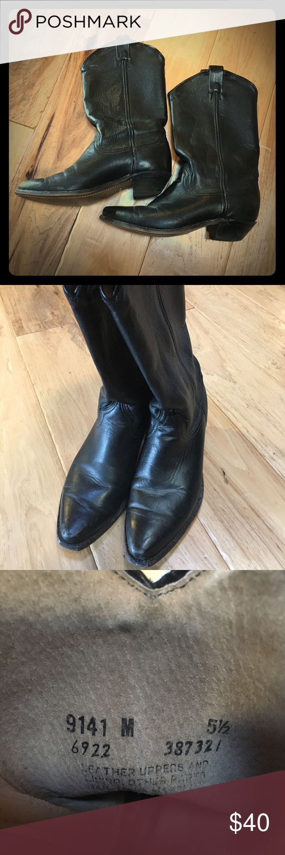 Awesome black leather boots! Love these! Black leather mid calf boots size 5.5! Shoes Heeled Boots