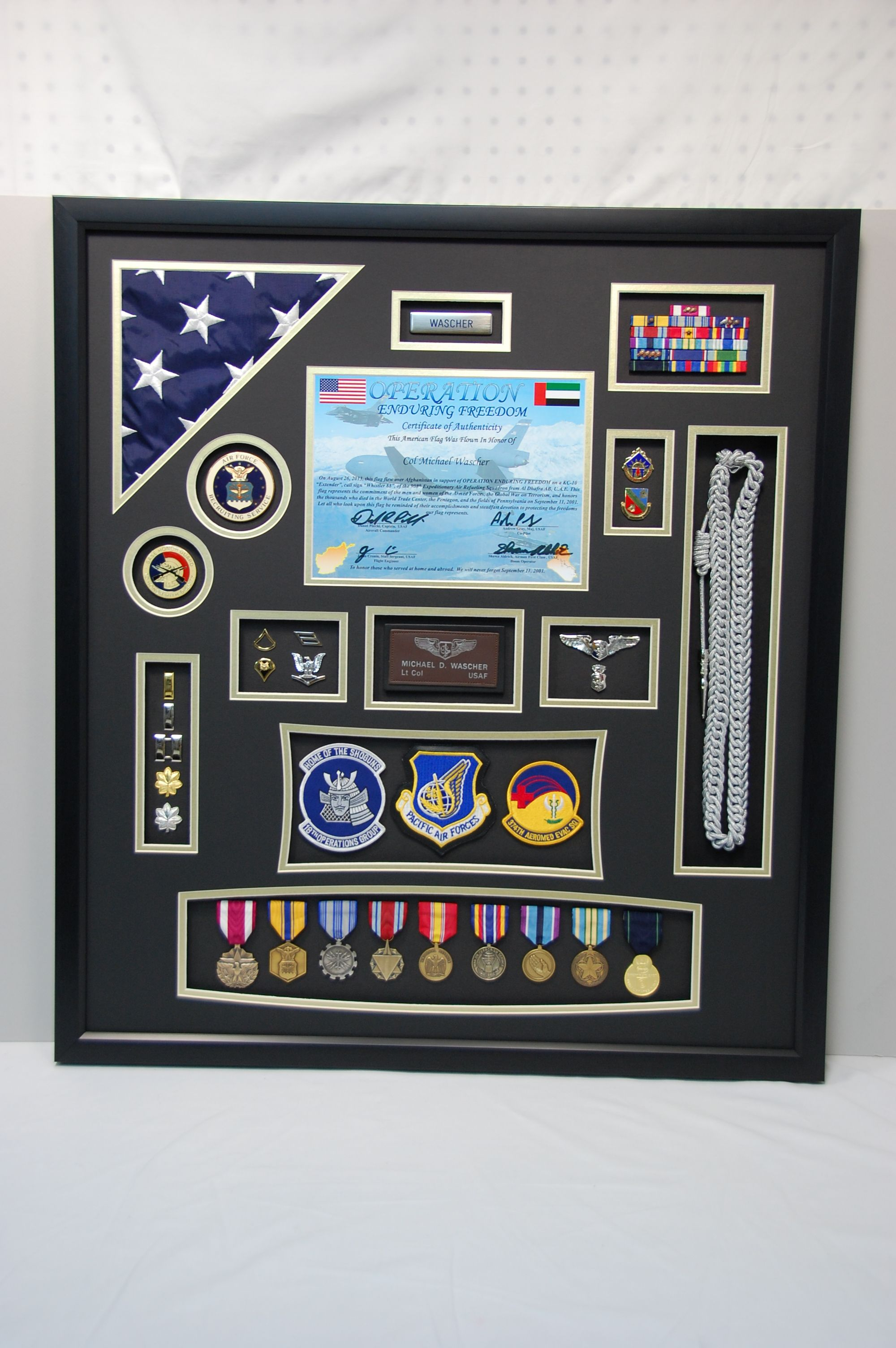 US Air Force Shadow Box Display w/ Flag and Certificate