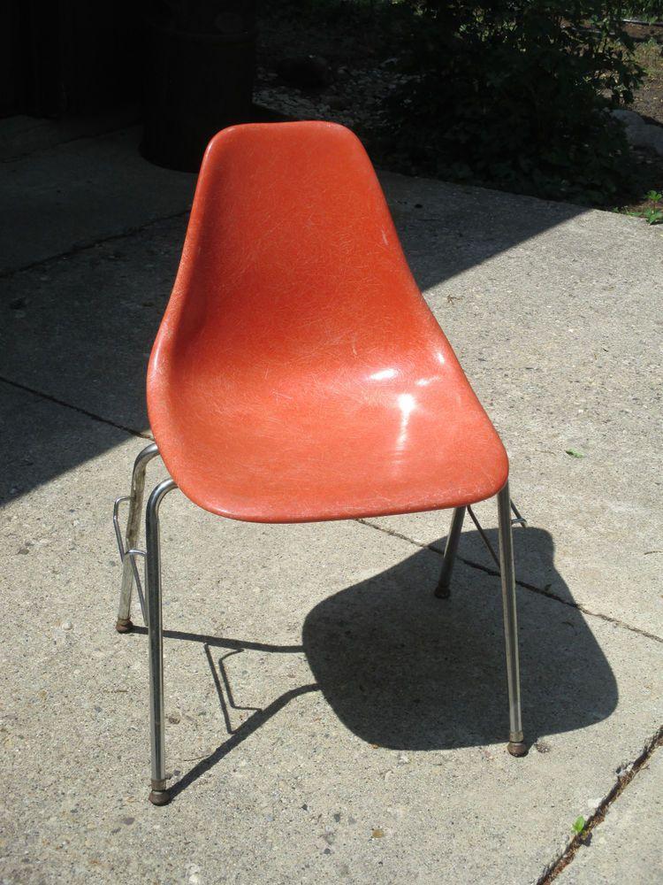 Eames Mid Century Fiberglass Chair Orange Domore Office Furniture Vintage  1950s #Domore #MidCentury