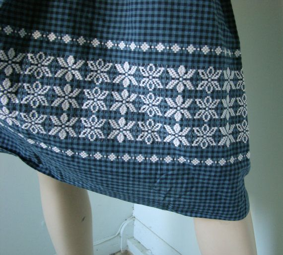 Country Gingham Dress 1950's Vintage Storm Blue by ReluctantDamsel, $39.00