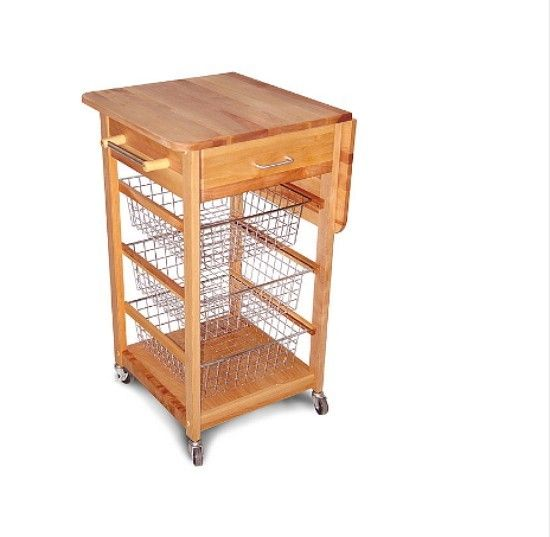 Product Information Kitchen Island Drop Leaf Basket Portable Rolling Chef Cart  Drop Leaf Basket Cart