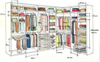 Medidas interior armarios vestidores pinterest for Distribucion de armarios empotrados por dentro