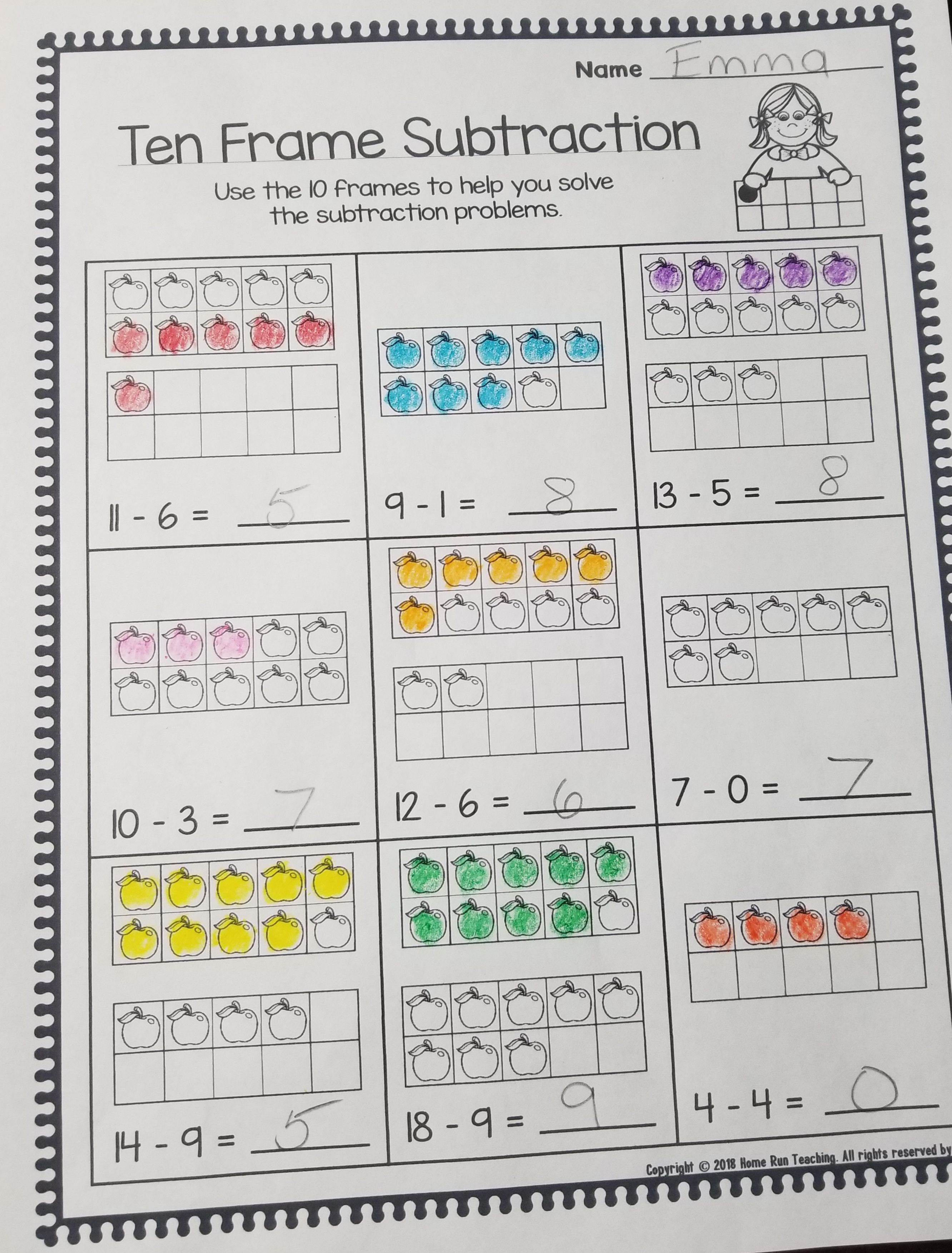 Color by subtraction packet. Part of a subtraction fun