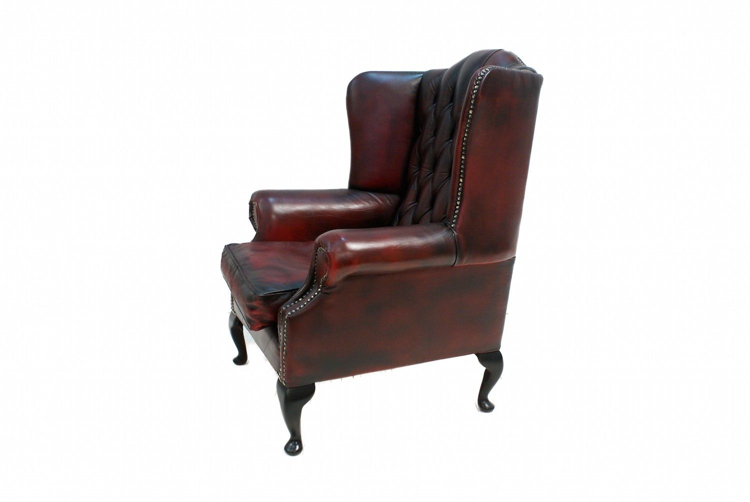 A Lovely Rich Wine Second Hand Leather Chesterfield Wing ...